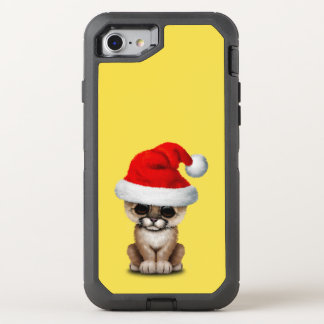 Cute Cougar Cub Wearing a Santa Hat OtterBox Defender iPhone 8/7 Case