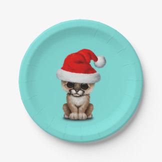 Cute Cougar Cub Wearing a Santa Hat Paper Plate