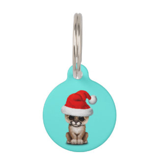 Cute Cougar Cub Wearing a Santa Hat Pet Name Tag