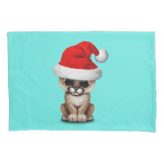 Cute Cougar Cub Wearing a Santa Hat Pillowcase