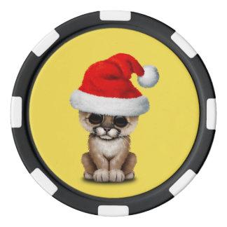 Cute Cougar Cub Wearing a Santa Hat Poker Chips
