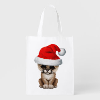 Cute Cougar Cub Wearing a Santa Hat Reusable Grocery Bag