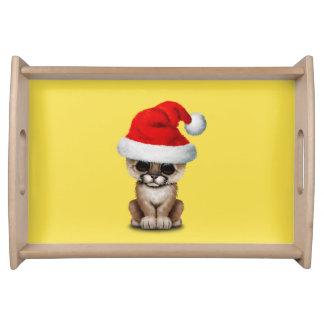 Cute Cougar Cub Wearing a Santa Hat Serving Tray