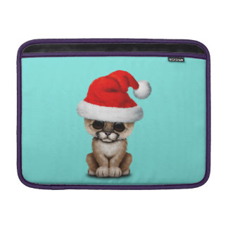 Cute Cougar Cub Wearing a Santa Hat Sleeve For MacBook Air