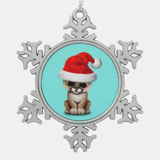 Cute Cougar Cub Wearing a Santa Hat Snowflake Pewter Christmas Ornament