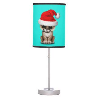 Cute Cougar Cub Wearing a Santa Hat Table Lamp