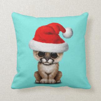 Cute Cougar Cub Wearing a Santa Hat Throw Pillow
