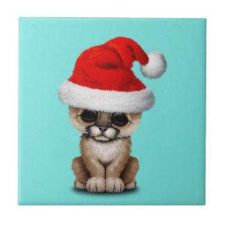 Cute Cougar Cub Wearing a Santa Hat Tile