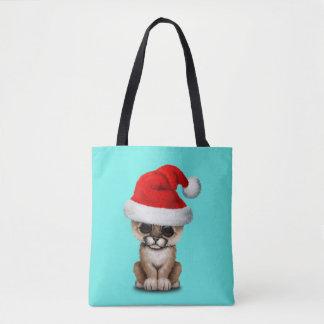 Cute Cougar Cub Wearing a Santa Hat Tote Bag