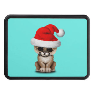 Cute Cougar Cub Wearing a Santa Hat Trailer Hitch Cover