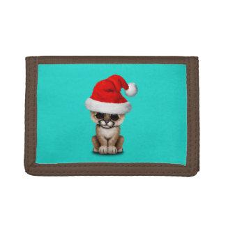 Cute Cougar Cub Wearing a Santa Hat Tri-fold Wallet