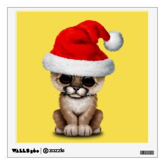 Cute Cougar Cub Wearing a Santa Hat Wall Sticker