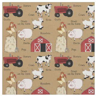 Cute Country Farm pattern material Fabric