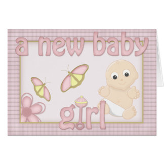 Cute Country Kitsch New Baby Girl Congratulations Greeting Card