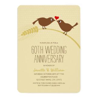 Cute Country Love Birds 60th Wedding Anniversary Card