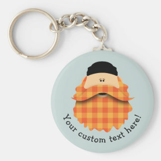 Cute Country Plaid Bright Orange Bearded Character Basic Round Button Keychain