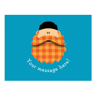 Cute Country Plaid Bright Orange Bearded Character Postcard