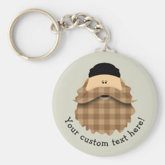 Cute Country Plaid Caramel Brown Bearded Character Basic Round Button Keychain