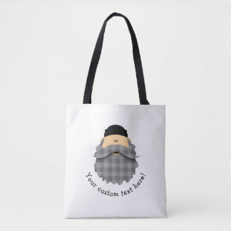 Cute Country Plaid Charcoal Gray Bearded Character Tote Bag