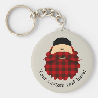 Cute Country Plaid Flannel Red Bearded Character Basic Round Button Keychain