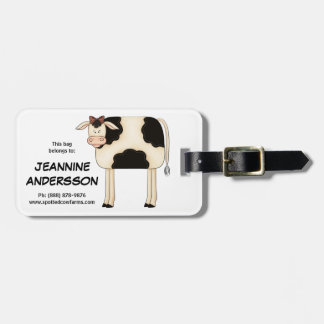 Cute Country Prim Folkart Lady Cow Luggage Tag