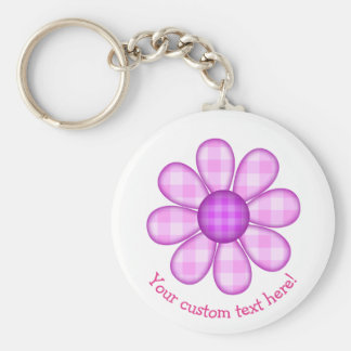 Cute Country Purple Pink Plaid Graphic Flower Icon Basic Round Button Keychain