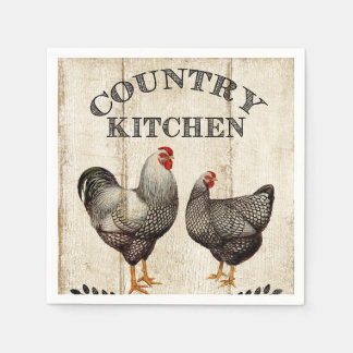 Cute Country Rooster Vintage party napkins