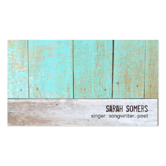 Cute Country Rustic Weathered Turquoise Wood Business Card