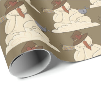 Cute Country snowman Holiday tiled party wrap Wrapping Paper