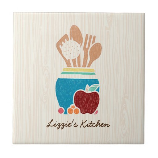 Cute Country Style Kitchen Utensils With Name Ceramic Tile Zazzle
