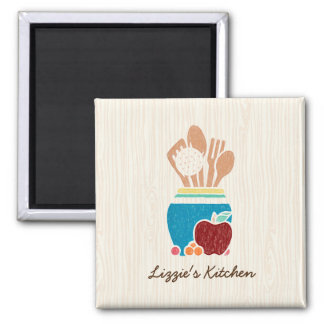 Cute Country Style Kitchen Utensils With Red Apple Square Magnet