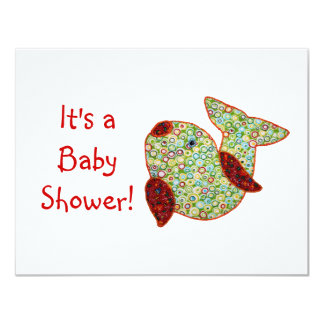 Cute Country Style Patchwork Goldfish Baby Shower Card