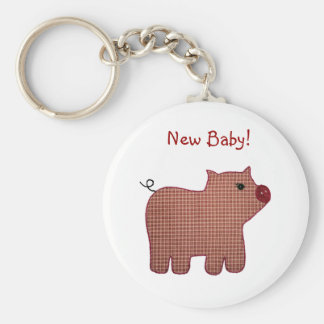 Cute Country Style Pink Plaid Pig New Baby Basic Round Button Keychain