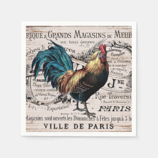 Cute Country Vintage rooster Paris napkins