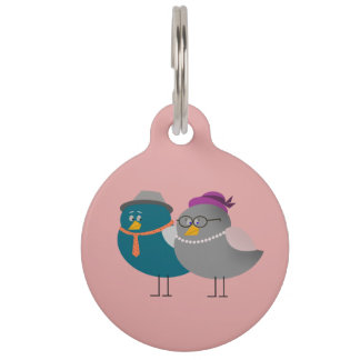 Cute Couple Birds Round Large Pet Tag
