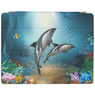 Cute Couple Dolphins Playing In Ocean iPad Cover