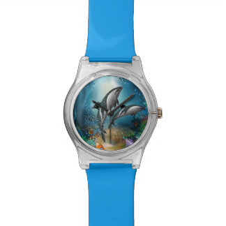 Cute Couple Dolphins Playing In Ocean Wrist Watch