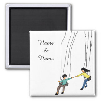 Cute Couple in a swing,Minimal Illustration Magnet