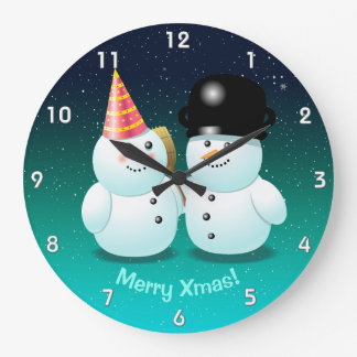 Cute Couple of Snowmen Cartoon Large Clock