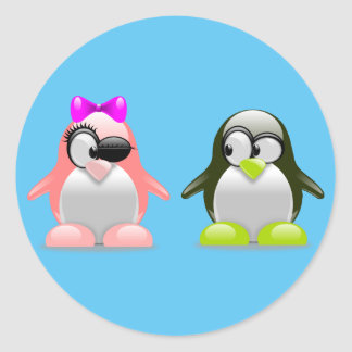 Cute couple penguins classic round sticker