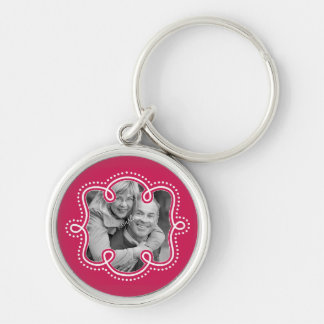 Cute Couple Pic Doodle Frame Raspberry Silver-Colored Round Keychain
