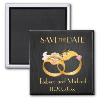 """Cute """"couple's ring"""" Save the Date magnets"""