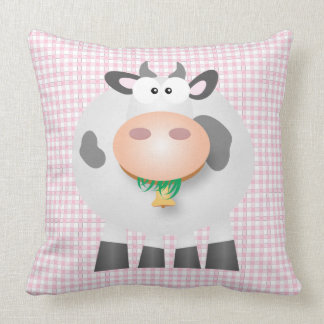 Cute Cow And Pastel Pink Gingham Plaid Pattern Throw Pillow