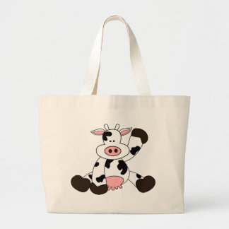 Cute Cow Cartoon Design Large Tote Bag