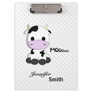 Cute cow cartoon polka dot personalized girls clipboards
