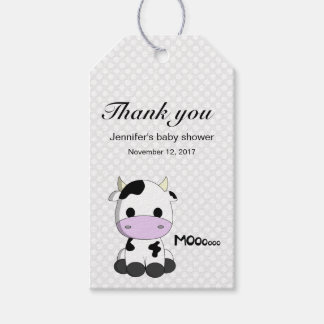 Cute cow cartoon polka dots baby shower thank you gift tags