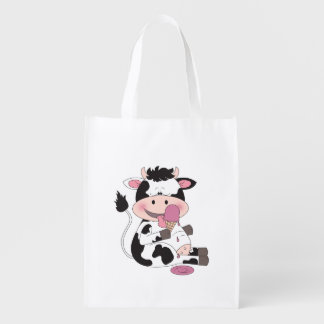 Cute Cow Cartoon Reusable Grocery Bag