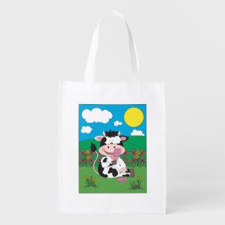 Cute Cow Cartoon Reusable Grocery Bag