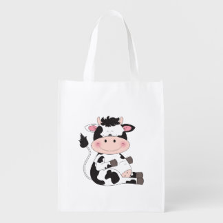 Cute Cow Cartoon Reusable Grocery Bags