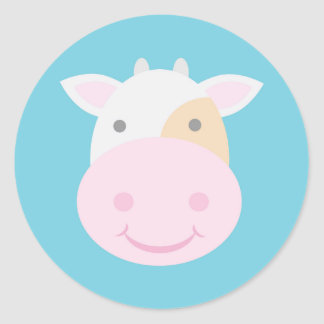Cute Cow Classic Round Sticker